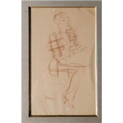 Jack Levine, Woman in Plaid Dress, Conte Crayon Drawing
