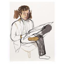 Alice Neel, Portrait of Edward Avedesian, Lithograph