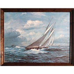 Johannes Holst, Sailboat in Wind, Print on Canvas