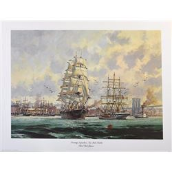 Eldred Clark Johnson, Morning Departure New York Harbour, Offset Lithograph