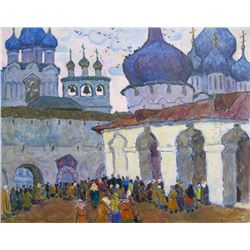 Moisey Kogan, Orthodox Church (Blue Domes), Oil Painting