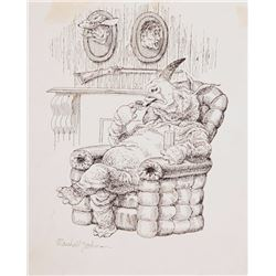 Marshall Goodman, Rhino with Heads on Mantel, Ink Drawing