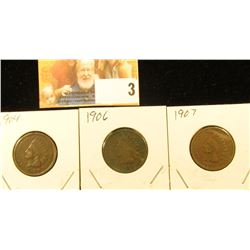 1904, 06, & 07 Indian Head Cents, Good.