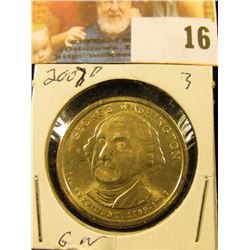 2007 D Gem BU Presidential George Washington 'Golden' Dollar Coin.