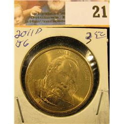 2011 D Presidential James Garfield 'Golden' Dollar Coin. Gem BU.