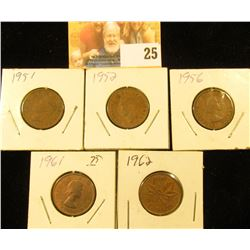 1951, 52, 56, 61, & 62 Circulated Canada Small Cents.