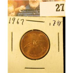 1967 Red Gem Uncirculated Canada Cent.