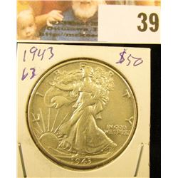1943 P Gem Uncirculated Walking Liberty Half Dollar.