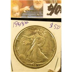 1945 D Gem Uncirculated Walking Liberty Half Dollar.