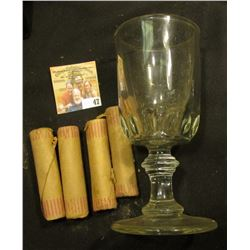 "Heavy Crystal Goblet containing (4) 1958 D Solid Date Gem BU Rolls of Lincoln ""Wheat"" Cents."