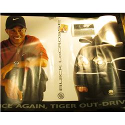 "Large color advertising poster for ""Buick LaCrosse"" states ""Once Again Tiger-Out Drives Them"", depic"