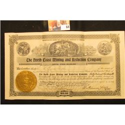"Jan. 2nd, 1908 20 Shares Stock Certificate ""The North Coast Mining and Reduction Company"", Incorpora"
