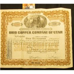 "April 29, 1949 Stock Certificate for 100 Shares ""Ohio Copper Company of Utah"" valued at $1 each. Cen"