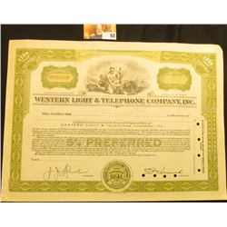"Specimen black ink stamped, hole cancelled serial number CP014008 ""Western Light & Telephone Company"