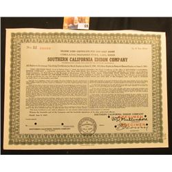 "Specimen red ink stamped, hole cancelled serial number 00000 ""Bearer Scrip Certificate For One Half"