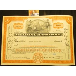 "Oct. 31, 1966 Stock Certificate for 100 Shares ""Reading Company"", central vignette of Greek figures,"