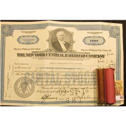 "April 29, 1958 Stock Certificate for 100 Shares ""The New York Central Railroad Company"", hole cancel"