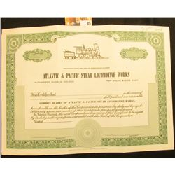 "Unissued Stock Certificate ""Atlantic & Pacific Steam Locomotive Works"", complete with Certificate st"