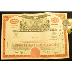 "May 24, 1971 Stock Certificate for 100 Shares of ""Pan American World Airways, Inc."", upper central v"