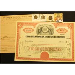 "Feb. 25, 1898 ""The Chicago & West Michigan Railway Company"" invoice; Oct. 31, 1962 Stock Certificate"