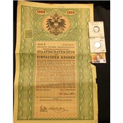 1914 Austria Government 1000 Kronen Bond with 7 attached coupons, cancelled stamp on obverse;  & a p