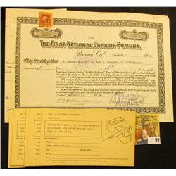 "November 13, 1946 ""Certificate for 10 Shares of the Capital Stock of The First National Bank of Pomo"