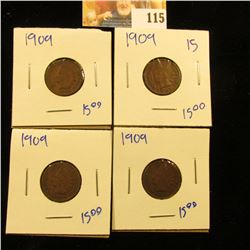 4 1909 INDIAN HEAD PENNIES ALL FOR 1 MONEY!!!