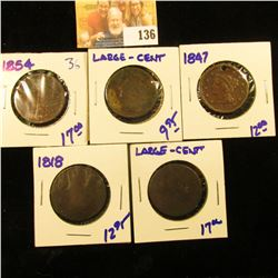5 LOWER GRADE AND DAMAGED LARGE CENTS