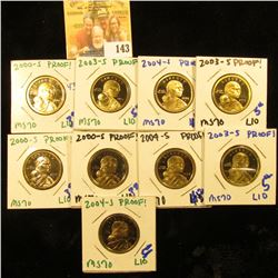 PROOF SACAGAWEA DOLLAR LOT DATED 2004-S, 2003-S,2004-S, 2000-S, 2000-S, 2003-S, 2004-S, 2000-S, AND