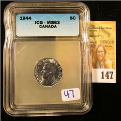 CANADIAN NICKEL DATED 1944 GRADED MS63 BY ICG