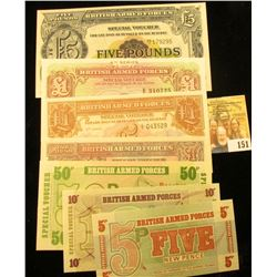7 PIECE CRISP MILITARY PAYMENT CERTIFICATES FROM GREAT BRITAIN