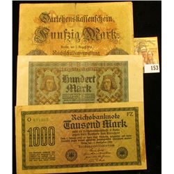 GERMAN OVERSIZED HYPERINFLATION NOTE LOT INCLUDES 1914 5 MARK NOTE, 1920 HUNDRED MARK NOTE, AND 1922