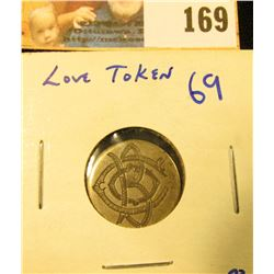 LOVE TOKEN HAND CARVED ON A 1891 SEATED LIBERTY DIME.  THE INITIALS B, O, AND CARD ARE INTERTWINED.