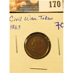 """1863 CIVIL WAR TOKEN… ON THE REVERSE IT SAYS """"OUR ARMY"""""""