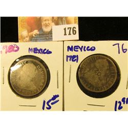 1780 MEXICAN 2 REALES HOLED PLUS 1781 2 REALES WITH A COUNTERMARK OF 20 ON EACH ONE