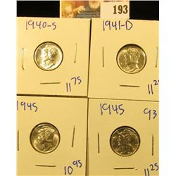 UPGRADE MERCURY DIME LOT INCLUDES 1945, 1940-S, 1941-D, AND 1945