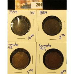 CANADIAN PENNY LOT DATED 1913, 1912, 1859, AND 1884