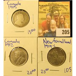 1912 & 1905 CANADIAN QUARTERS AND 1919 NEWFOUNDLAND QUARTER