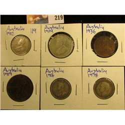 AUSTRALIA COIN LOT INCLUDES 1919 PENNY, 1936 HALF PENNY, 1914, 2 SHILLINGS, 1912 ONE SHILLING. 1916