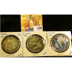 COINS FROM LIBERIA INCLUDING STATUTE OF LIBERTY 5 DOLLAR COIN, FIVE DOLLAR ATTACK ON PEARL HARBOR, A