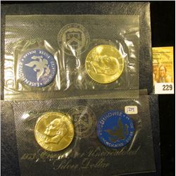 "1973 AND 1974 SILVER UNCIRCULATED ""BLUE IKES"" IN ORIGINAL GOVERNMENT PACKAGING"