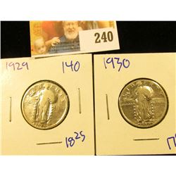 1929 AND 1930 STANDING LIBERTY QUARTERS