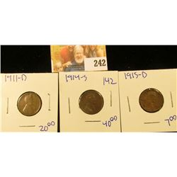 1914-S, 1911-D, AND 1915-D WHEAT PENNIES