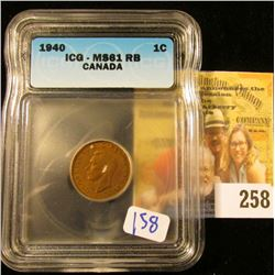 1940 CANADIAN PENNY GRADED MS61 REDDISH BOWN BY ICG