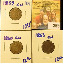 1859CN, 1860CN, AND 1863CN INDIAN HEAD PENNIES