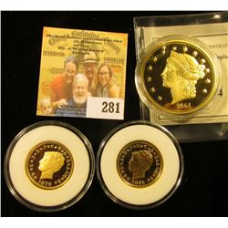 REPLICA GOLD COIN LOT INCLUDES REPLICA 1861 DOUBLE EAGLE AND 2 REPLICA 4 DOLLAR GOLD COINS