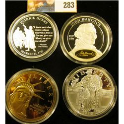 MEDAL COLLECTION INCLUDES A LARGE COPY OF THE STANDING LIBERTY QUARTER, PATRICK HENRY, JOHN HANCOCK,