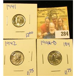 3 MERCURY DIMES DATED 1942-D, 1942, AND 1941