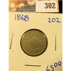 SHARP 1868 SHIELD NICKEL.  THIS IS A GOOD UPGRADE FOR YOUR SET