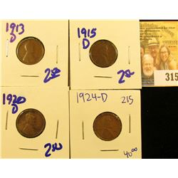SEMI KEY DATE 1924-D WHEAT PENNY PLUS 1913-D, 1920-D,AND 1915-D